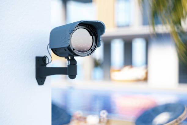 Surveillance Camera Outside Summer Villa stock photo