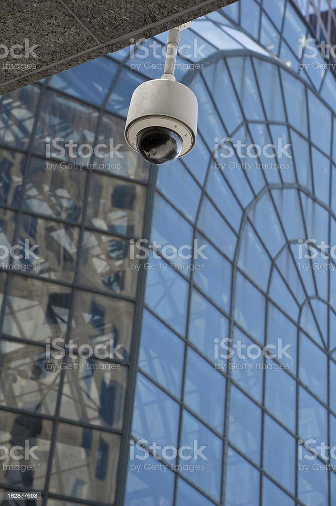 CCTV Surveillance camera overlooks plaza, Winter Garden NYC stock photo