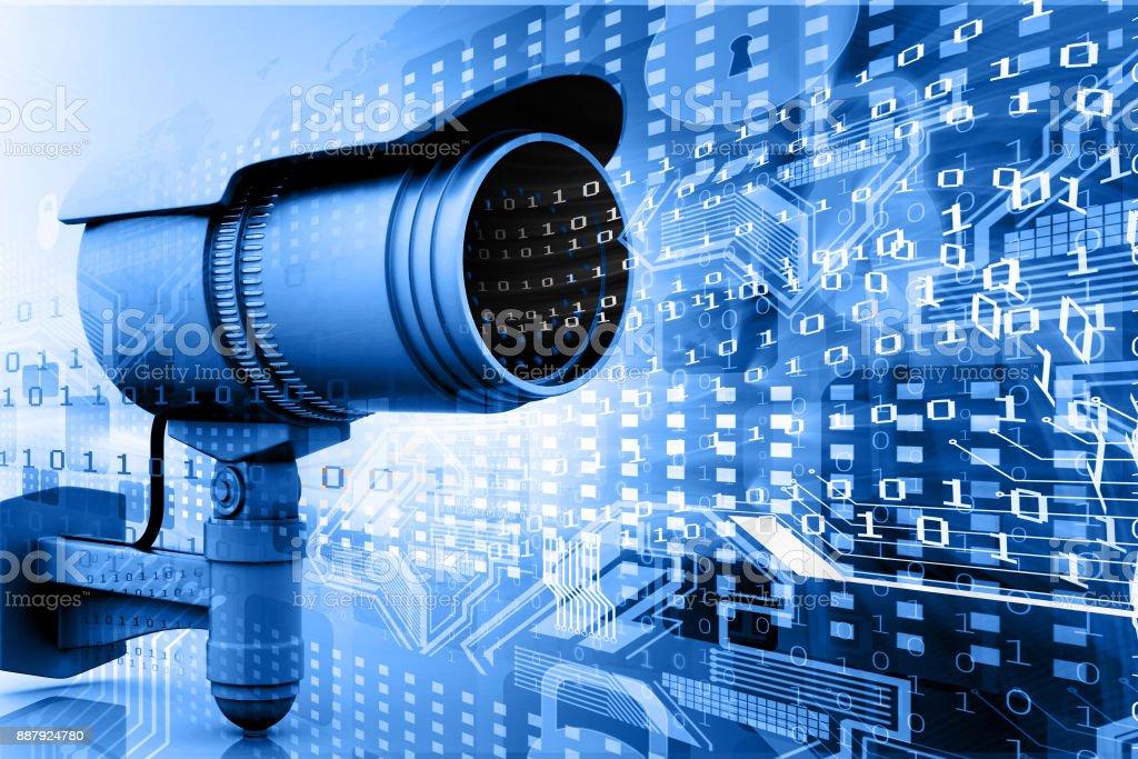 Bewakingscamera met digitale wereld foto