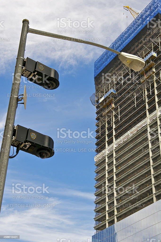 NYPD CCTV Surveillance cameras at Ground Zero, New York City royalty-free stock photo
