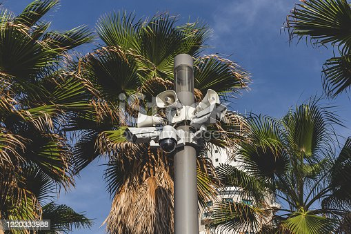Surveillance cameras atop a pole in Tel Aviv, Israel. Video surveillance has generated significant debate about balancing its use with individuals' right to privacy even when in public