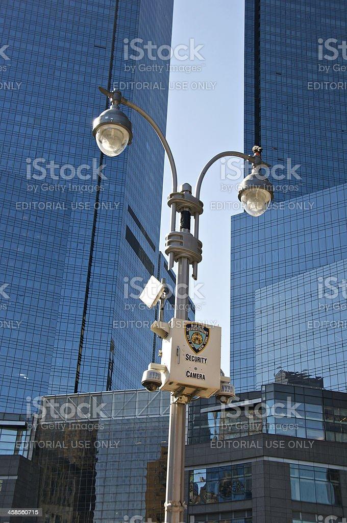 CCTV-NYPD Surveillance cameras, Columbus Circle, New York City stock photo