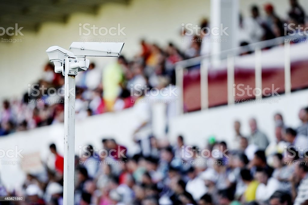 Surveillance cameras on stadium stock photo