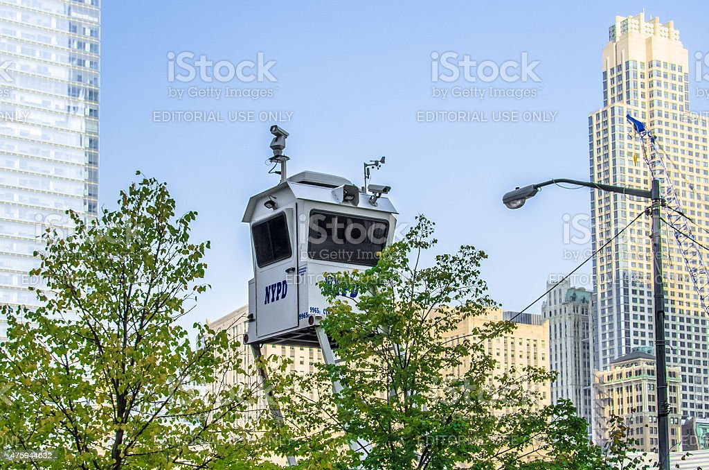 NYPD Surveillance Tower stock photo