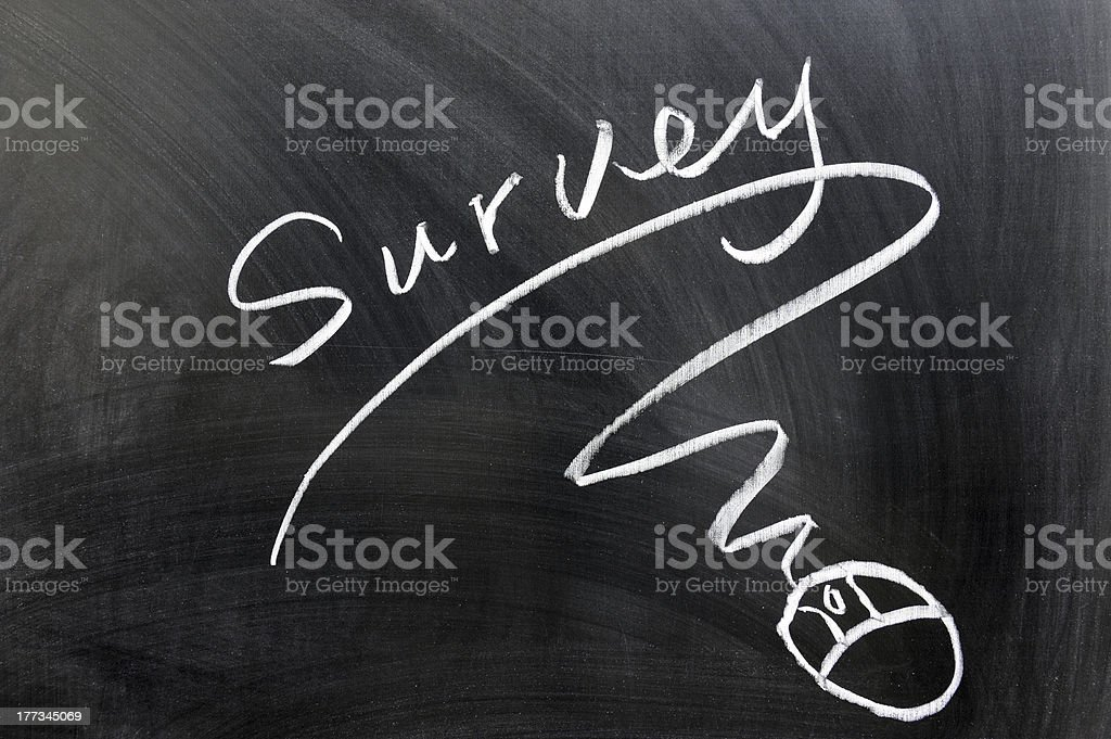 Survey and mouse sign stock photo