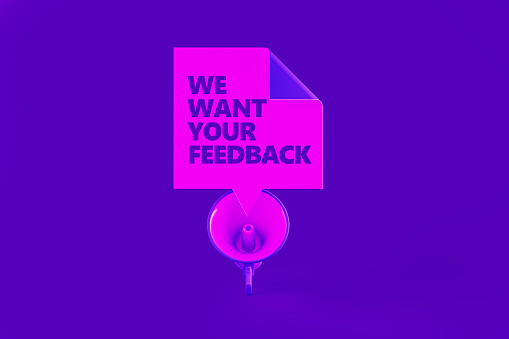 istock Survey Concept On Purple Background 1150829336