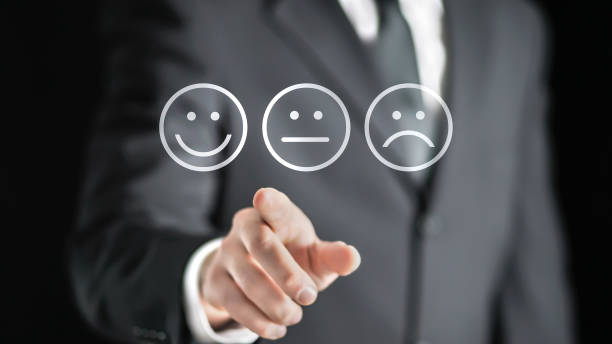 survey, giving feedback, poll questionnaire and customer experience concept. business man push digital touch screen to tell positive opinion, rating or review. - feedback icon imagens e fotografias de stock