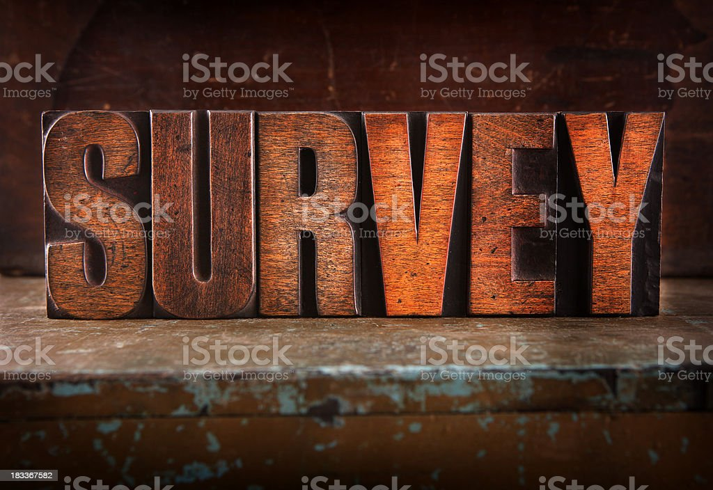 Survey - Letterpress letters royalty-free stock photo