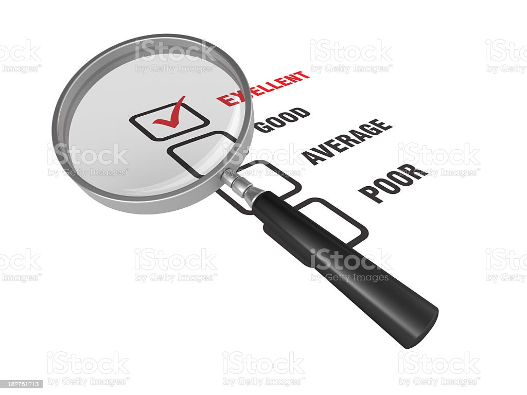 Survey List with Magnifying Glass royalty-free stock photo