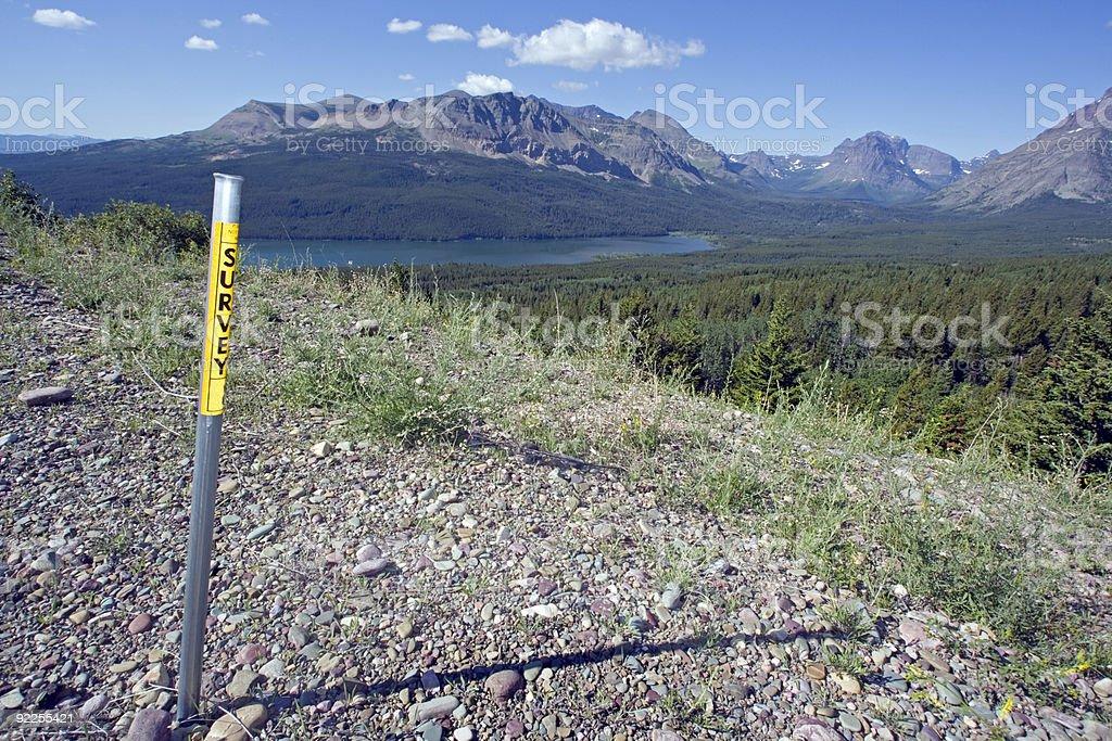 Survey monument stock photo