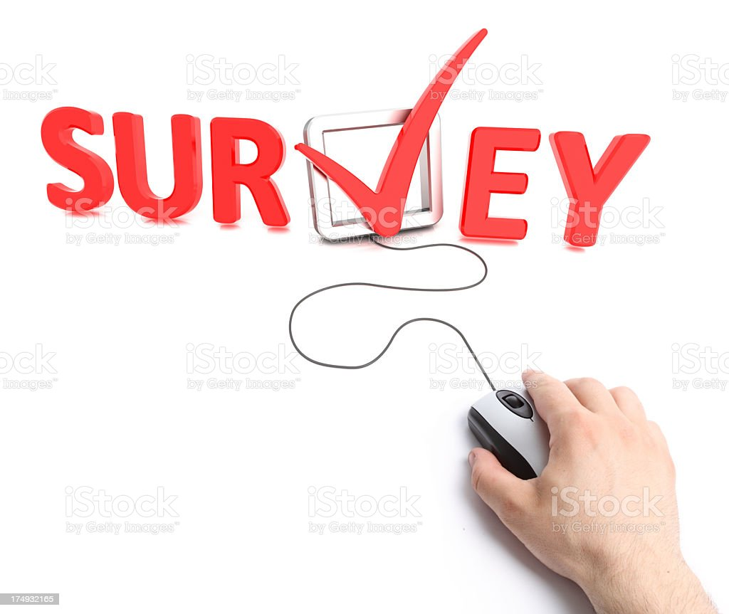 Survey online and hand holding mouse royalty-free stock photo