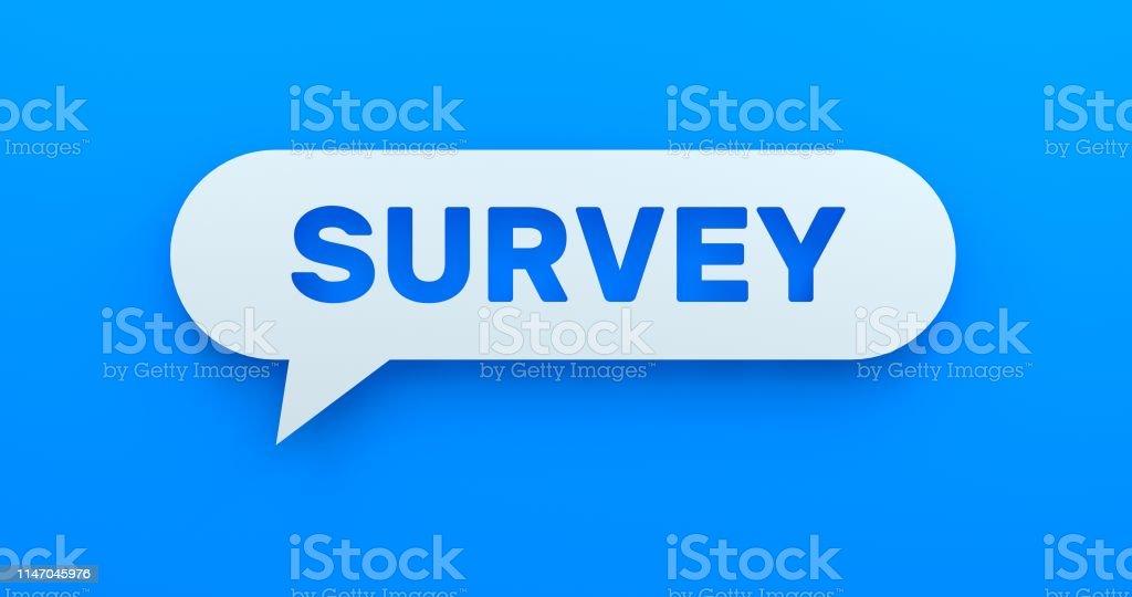 Survey. White Chat Bubble On Blue Background