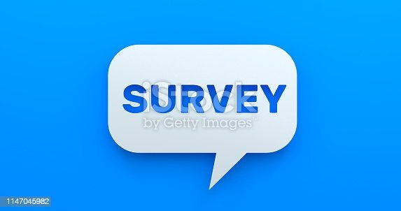 istock Survey. White Chat Bubble On Blue Background 1147045982