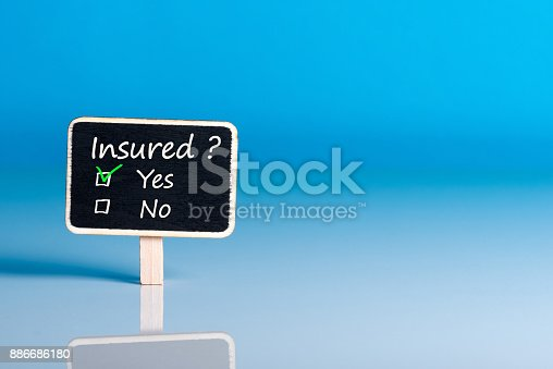 istock Survey with the question Insured? Insurance concept of car, life insurance, home, travel and healt insurance. Mockup with empty space for text 886686180