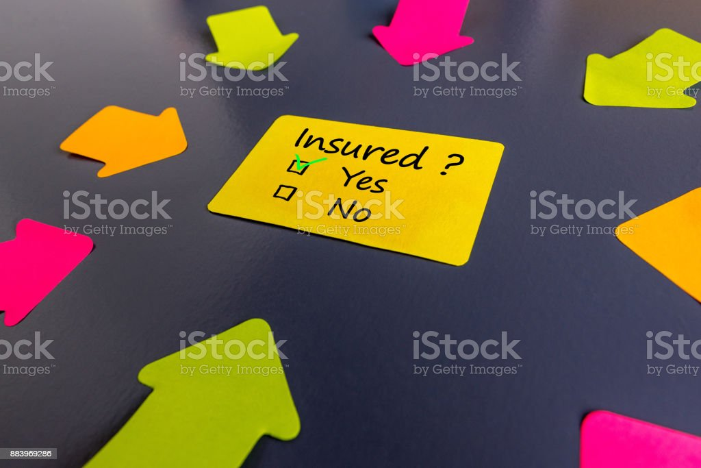 Survey with the question of insurance asking Insured. With variants of answers, yes or no and many arrows stock photo