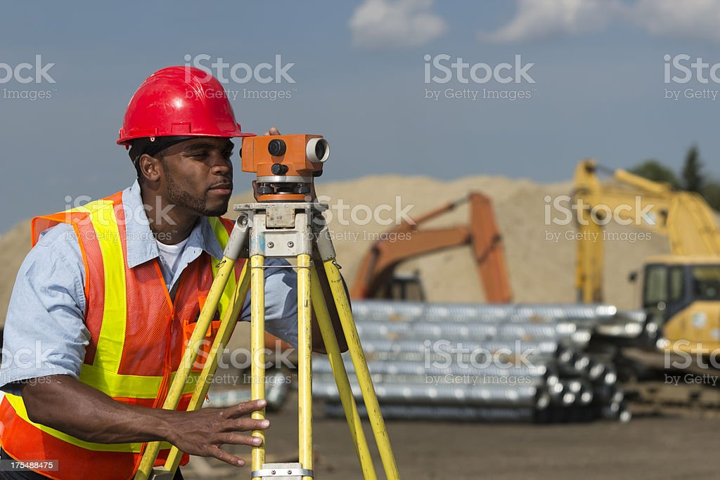Surveyor at Site stock photo