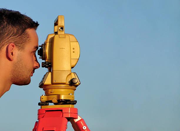 Surveyor close-up stock photo
