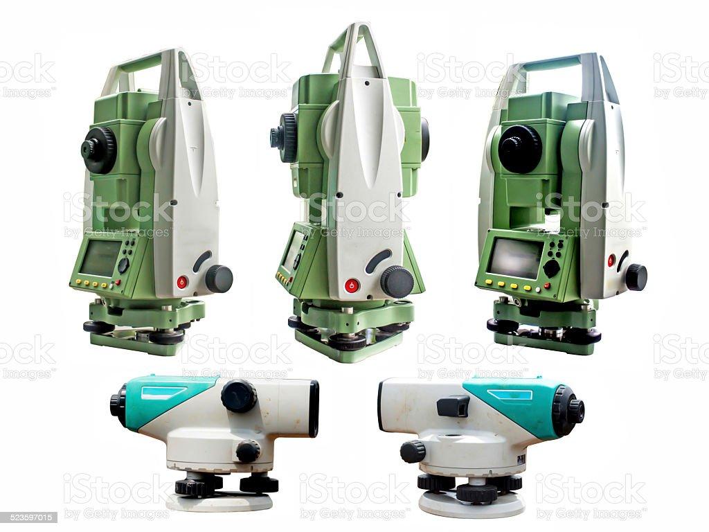 Surveyor equipment stock photo