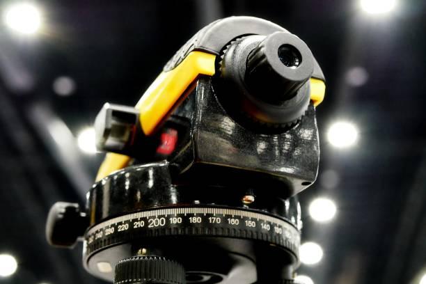 Surveyor equipment theodolie stock photo