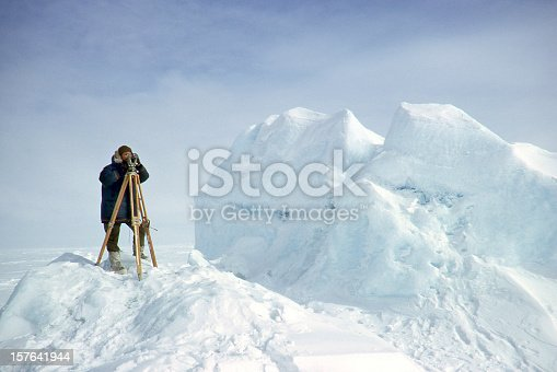 Surveyor working in the Arctic
