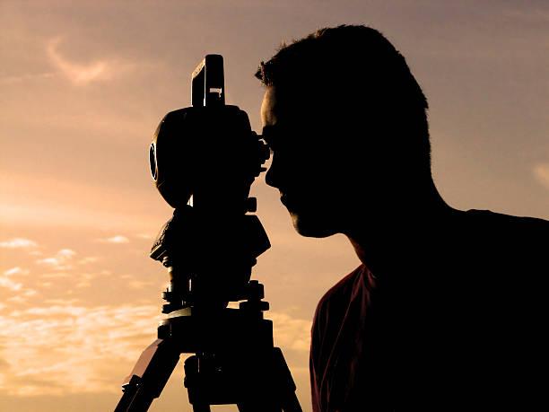 Surveyor silhouette stock photo