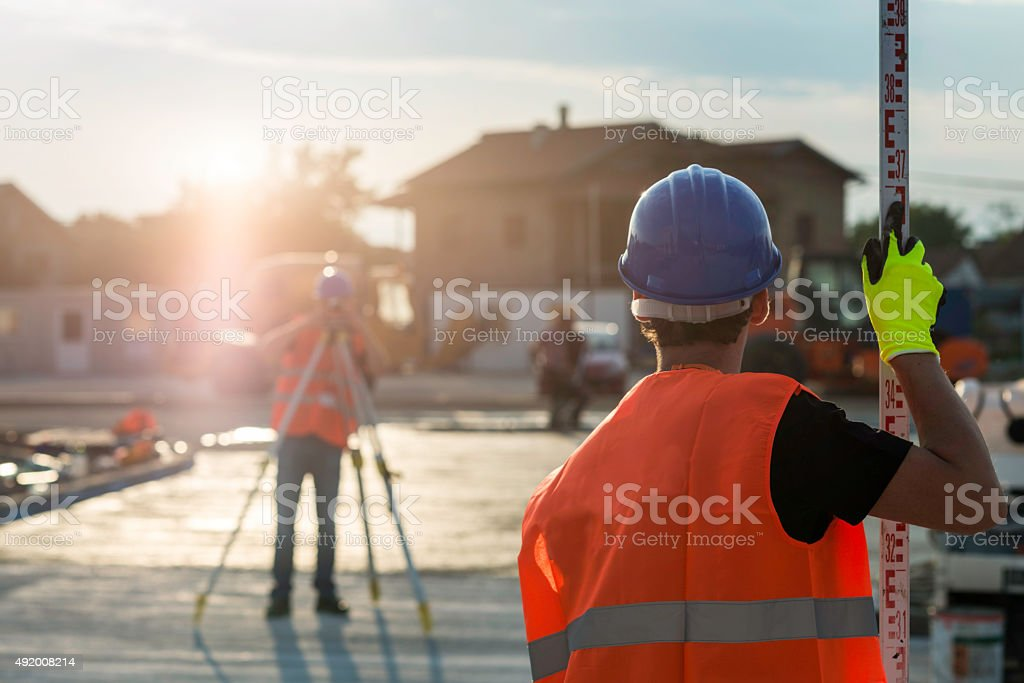 Surveyors at work stock photo
