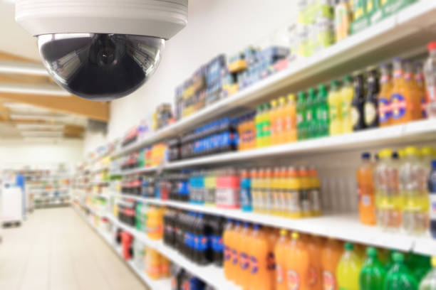 Survillance dome camera system for safety and security.CCTV survillance system prevent thief in supermarket store stock photo