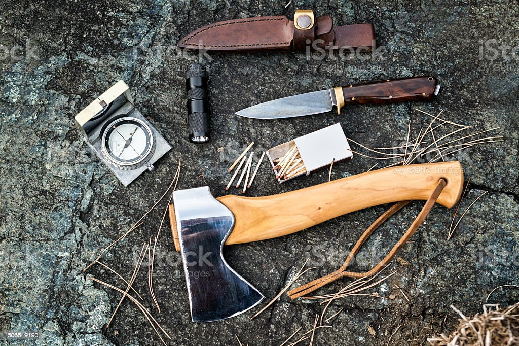 Survival and outdoors equipment stock photo