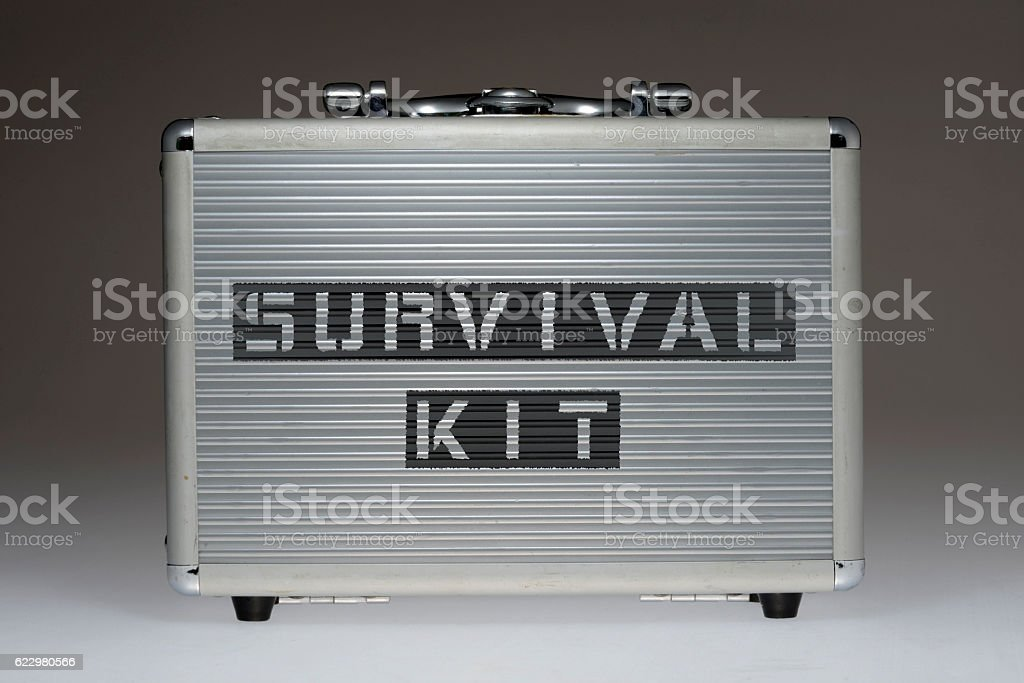 survival kit BOX stock photo