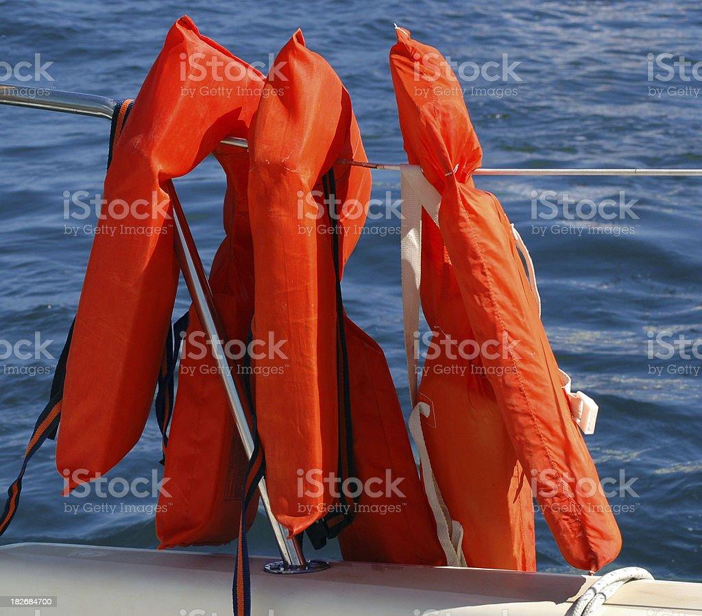 Survival Orange Life Vests royalty-free stock photo