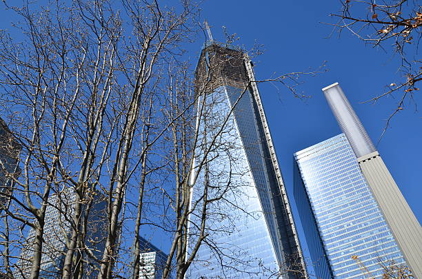Survivor Tree and Freedom Tower at One World Trade Center stock photo