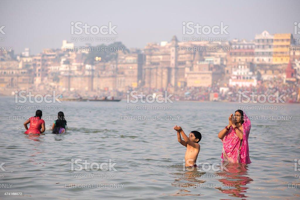 Surya Namaskar, Varanasi, India stock photo