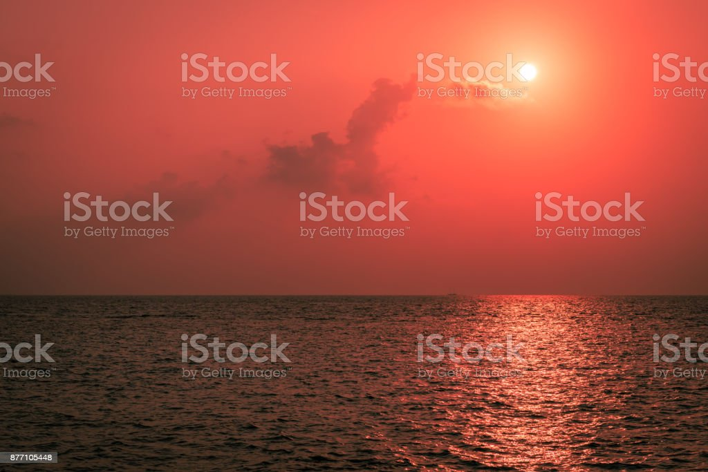 Suset over the Maldives islands. stock photo