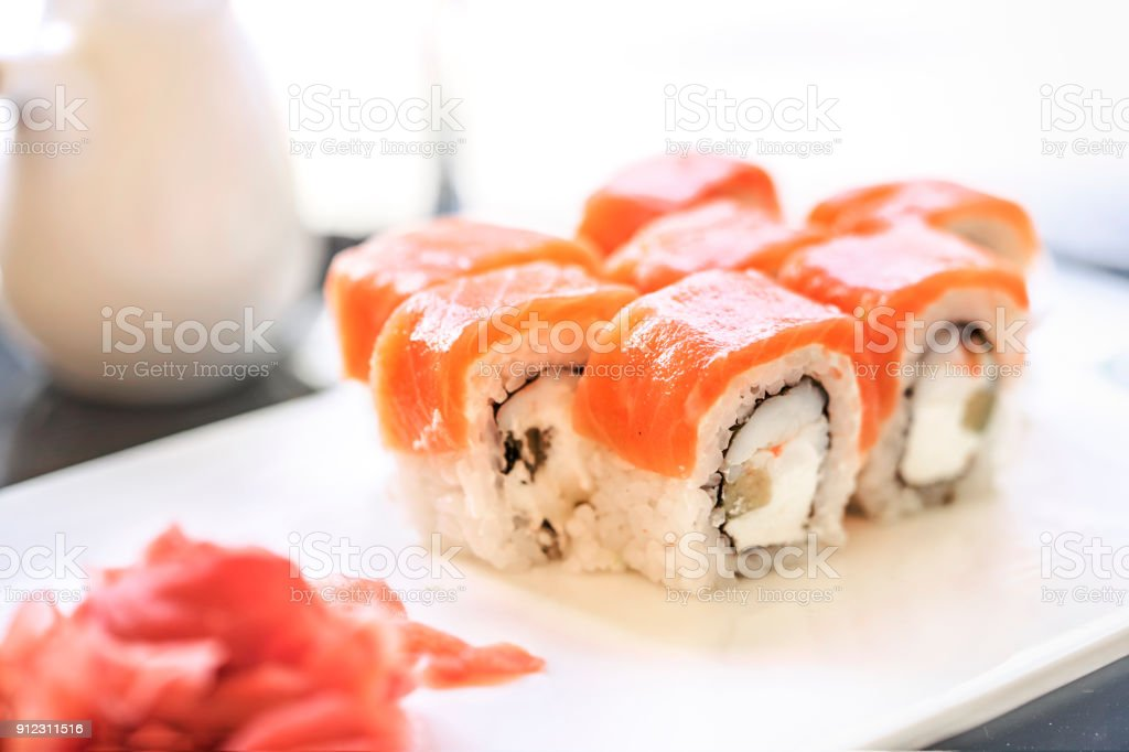 Sushi, a portion of Philadelphia sushi, stock photo