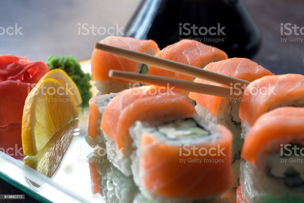Sushi, a portion of Philadelphia sushi stock photo