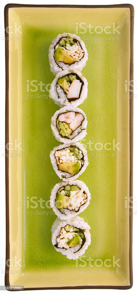 sushi and a green plate isolated on white royalty-free stock photo