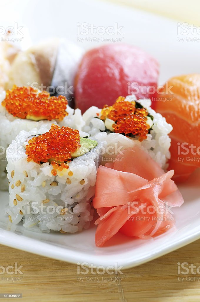 Sushi and california rolls royalty-free stock photo