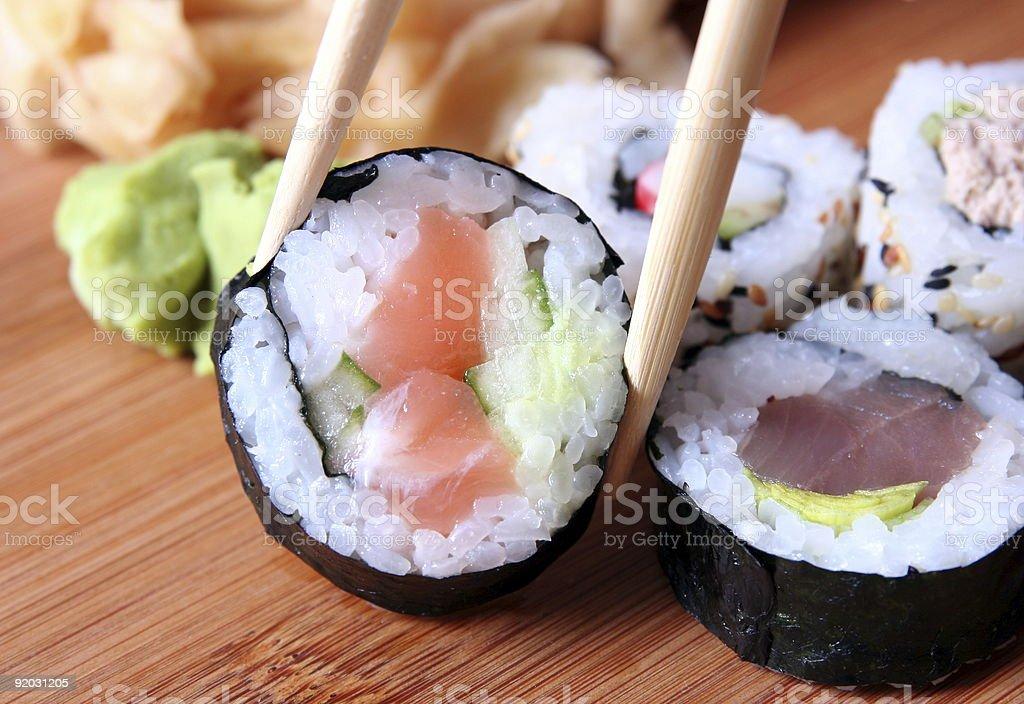 sushi and chopsticks close-up royalty-free stock photo