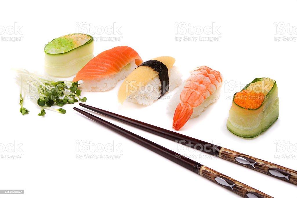 Sushi and chopsticks royalty-free stock photo