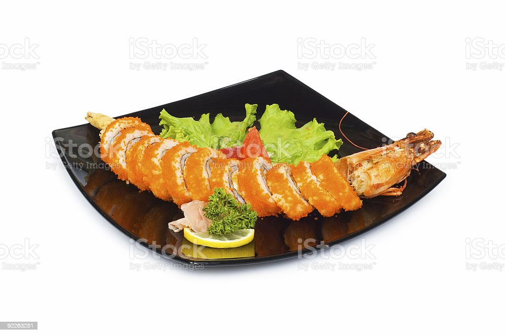 Sushi and crab isolated on the white background royalty-free stock photo