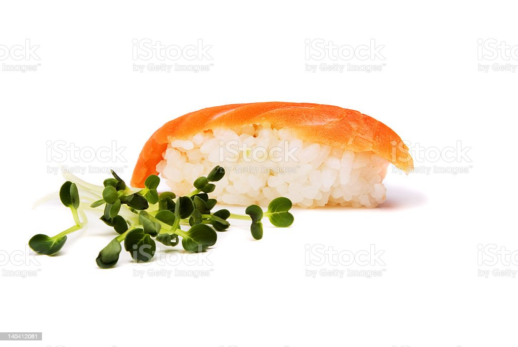 Sushi and green royalty-free stock photo