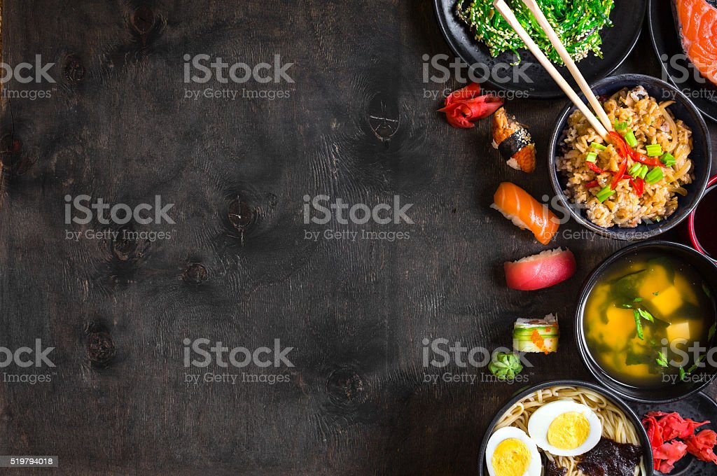 Sushi and japanese food on dark background stock photo