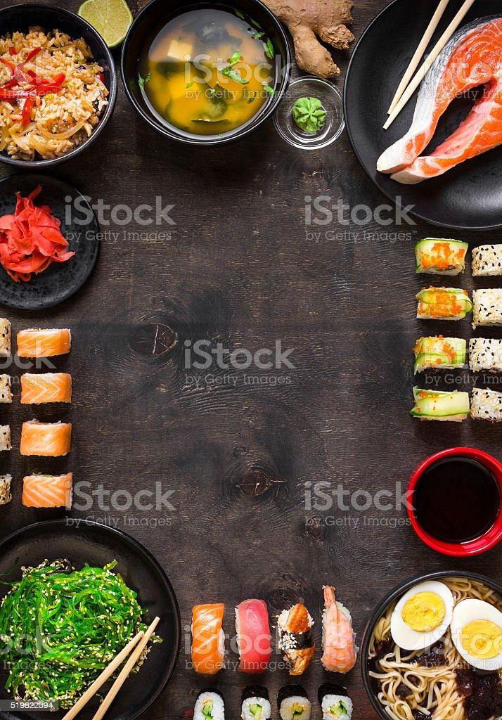 Sushi and japanese food on dark background stock photo
