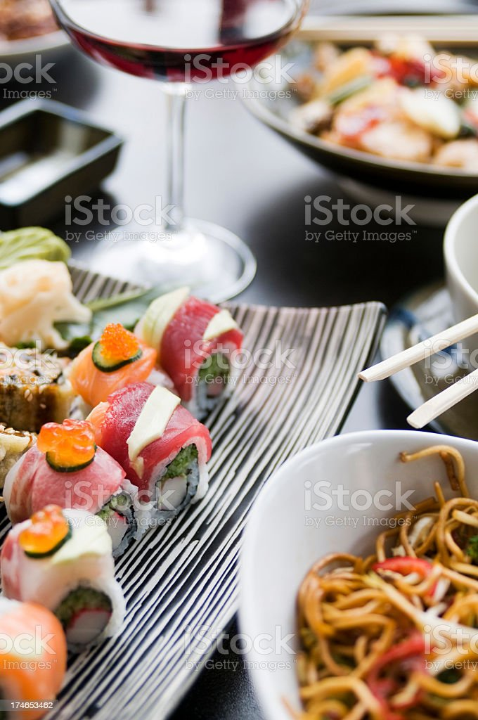 sushi and red wine royalty-free stock photo
