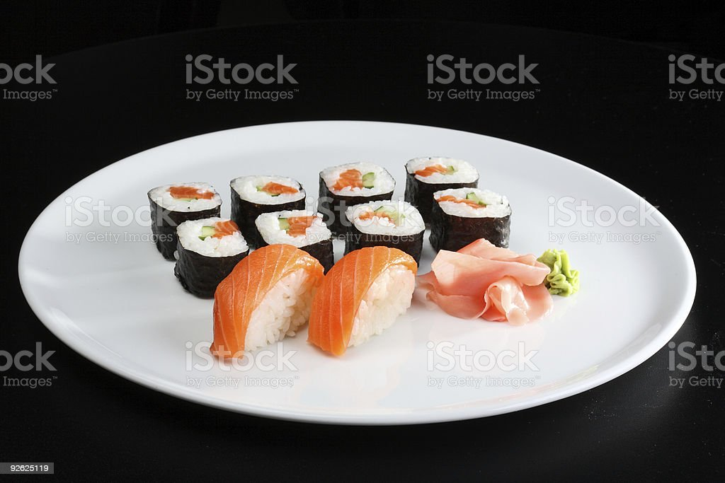 sushi and rolls with a salmon royalty-free stock photo