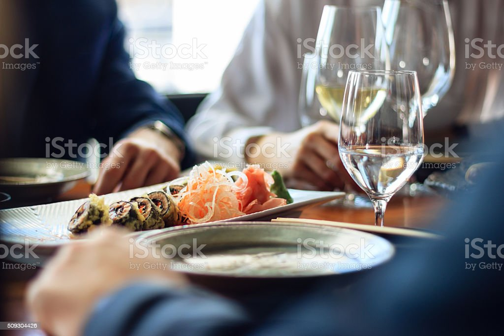 Sushi and scotch stock photo