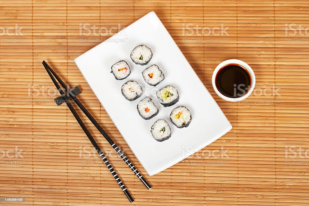 Sushi and soy sauce royalty-free stock photo