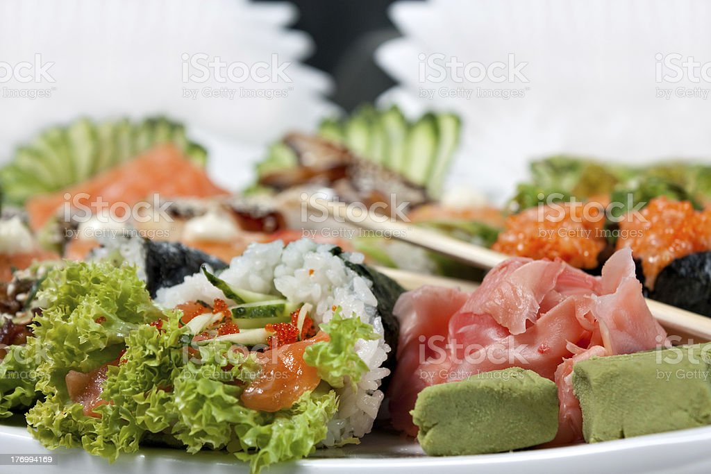 Sushi Assorted with Roll royalty-free stock photo