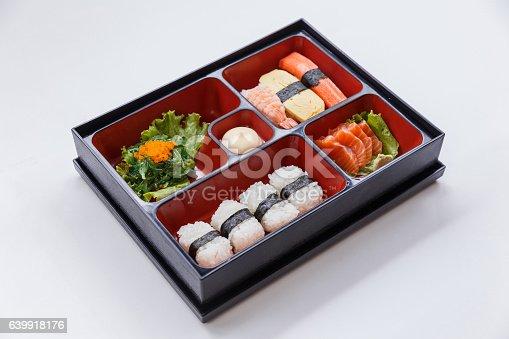 istock Sushi Bento Served with Seaweed Salad. 639918176