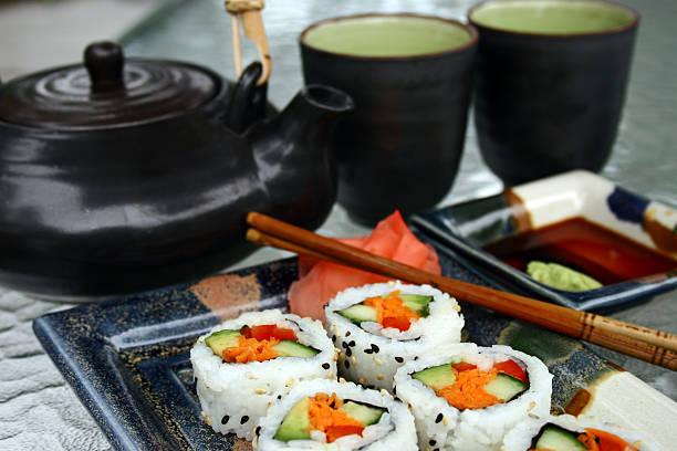 sushi - california rolls and tea stock photo